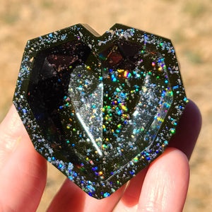 Black Faceted Heart Holo Dish by demiflux