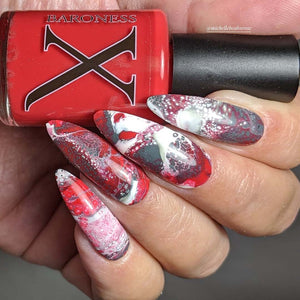 Down Comes the Blood - Blood Red Fluid Art Polish