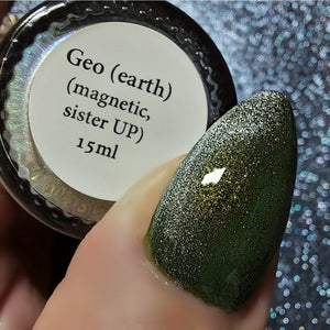 Geo (earth) - magnetic yellow/green/blue UP sister w/ holo microflakies