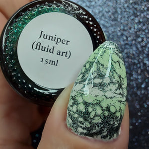 Juniper - Metallic Deep Green Fluid Art w/ Gold Flecks LE