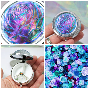 demiflux | Teal & Purple Iridescent Rose Storage Compact