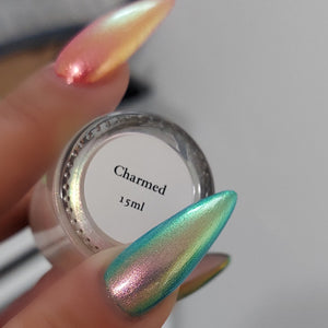 Charmed - Peachy Golden/Green/Blue Iridescent Polish