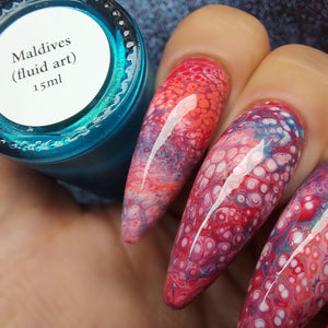 Maldives - Teal Shimmer Fluid Art Polish