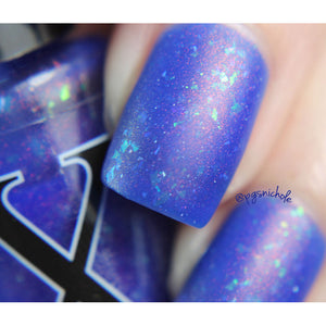 Nail Polish - Alhambra - Cobalt Blue Jelly Polish With Flakies, Holo Shards And Red To Green Pigment
