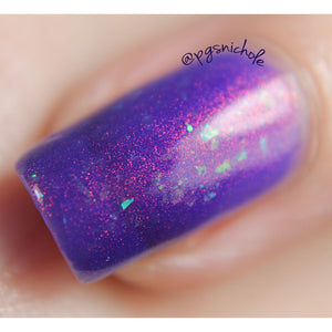 Nail Polish - Dulcinea - Violet Jelly Polish With Flakies And Red To Green Pigment
