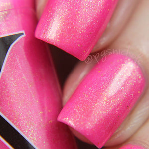 Nail Polish - Go Through Fire - Neon Magenta Nail Polish With Gold Flakies