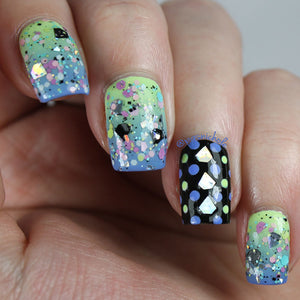 Nail Polish - LAST BATCH Pastel Grunge - Holographic And Pastel Glitter Topper With Gem Shaped Glitter