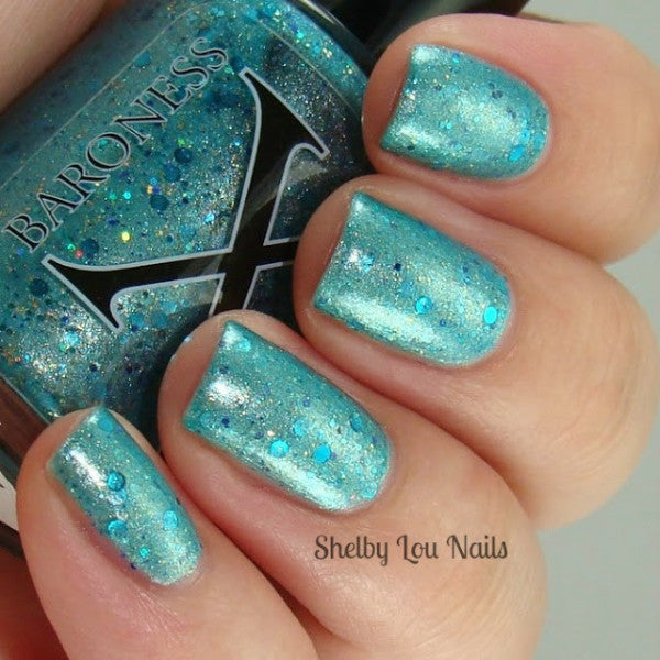 Mermaid Madness Turquoise Mermaid Polish W Shimmer And Glitter Baroness X