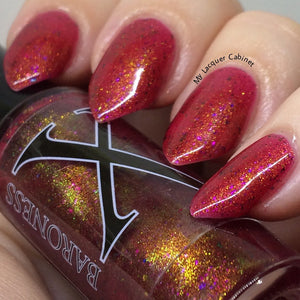 Nail Polish - Molino - Berry Red Jelly With Rainbow Flakies And Gold To Blue Pigment