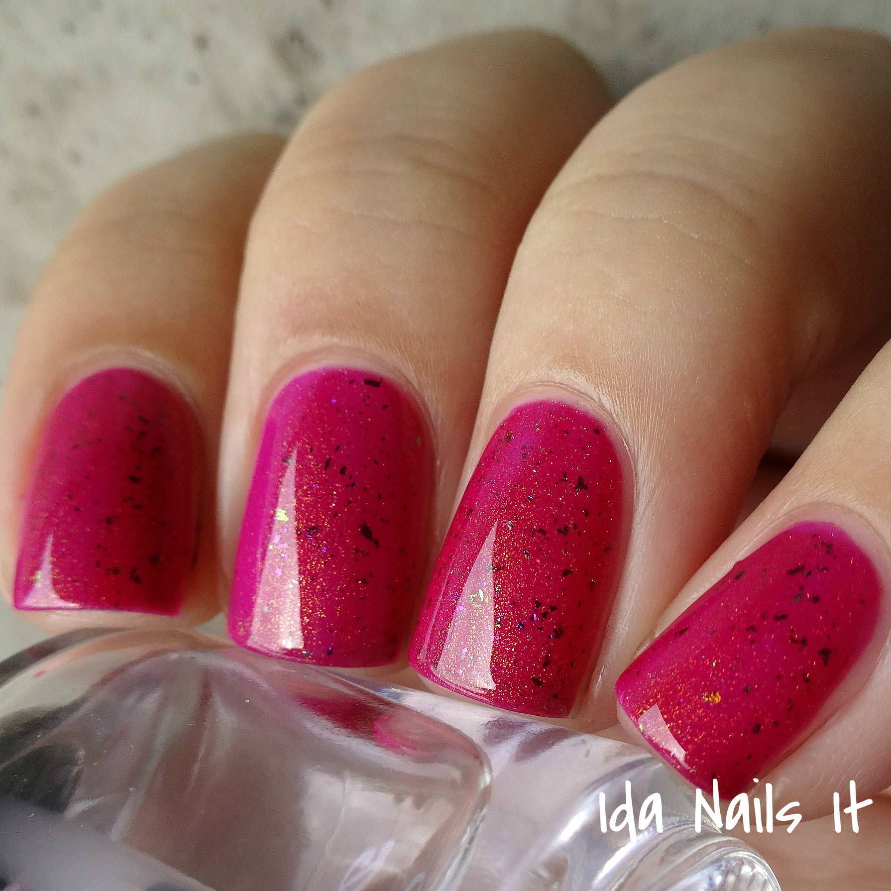 Berry Red Jelly With Rainbow Flakies And Gold To
