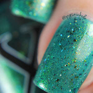 Nail Polish - Quixotica - Teal Jelly With Rainbow Flakies, Holo Micro Shards And Gold To Blue Pigment