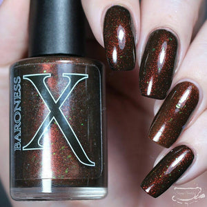 Nail Polish - Sequoia Gigantea - Chocolate Brown Jelly Polish With Flakies And Red To Green Pigment