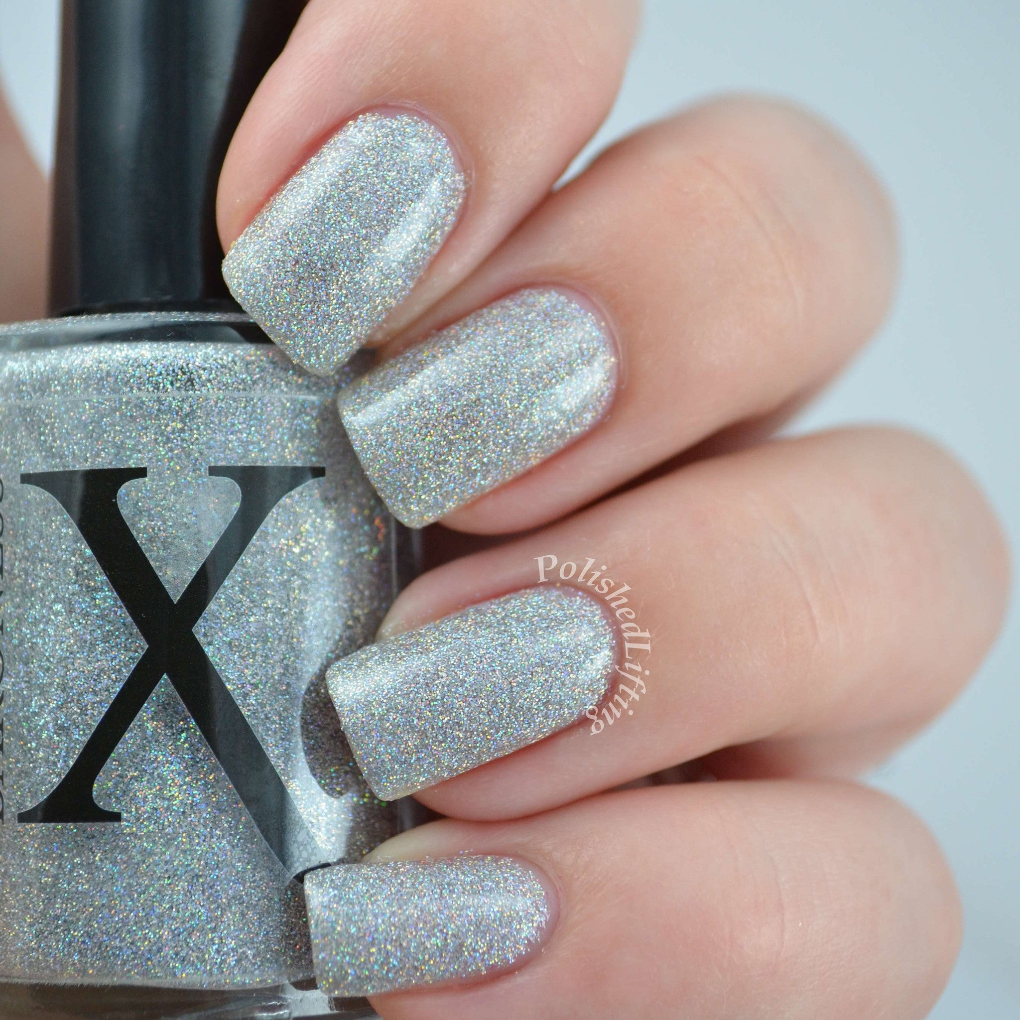 Silver Snow Surfer - Holographic Glitter Nail Polish - Baroness X