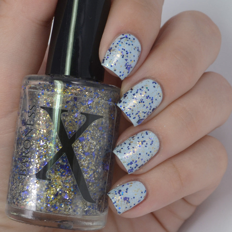 Nail Polish - Struck By Pegasus - Glitter Topper With Silver, Gold And Metallic Blue Shards