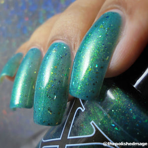 Quixotica - Teal Jelly with Rainbow Flakies, Holo Micro Shards and Gold to Blue Pigment