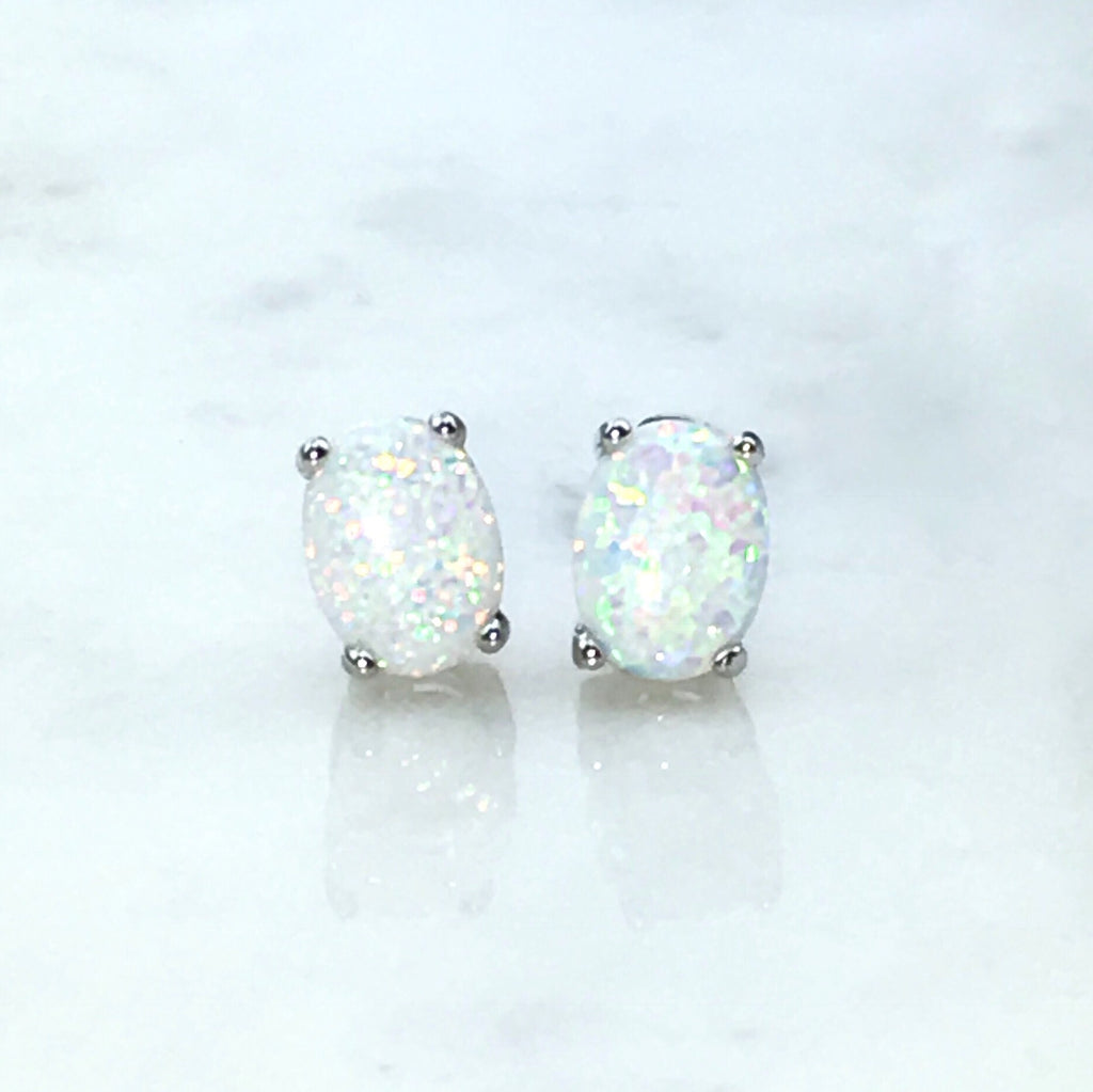 Oval White Opal Earrings