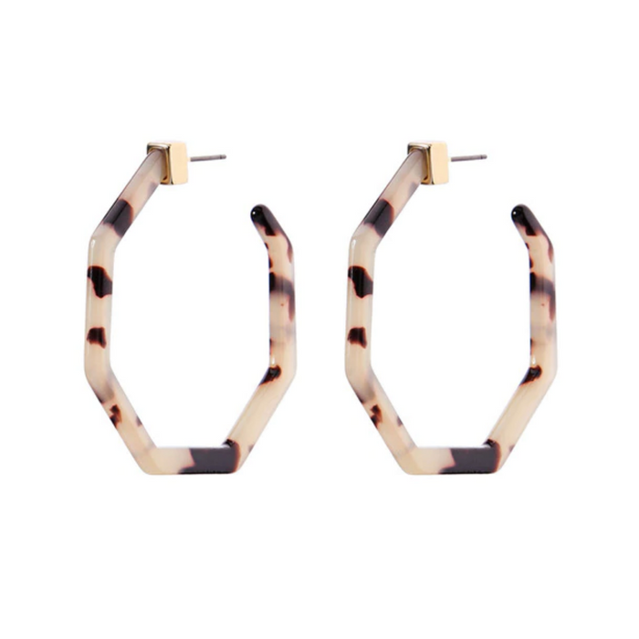 Geometric Tortoise Hoop Earrings