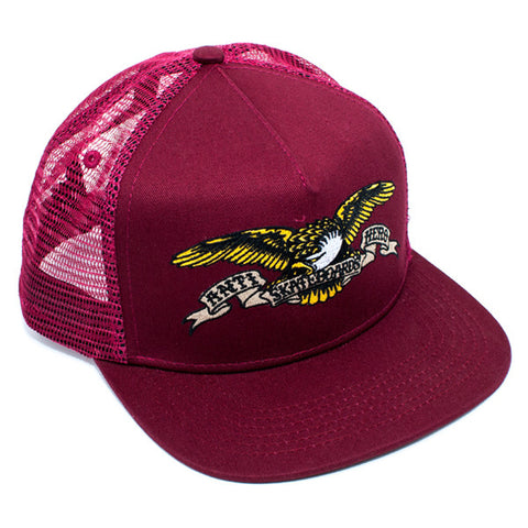Anti Hero Eagle Embroidery Snapback Trucker Hat (Burgundy)