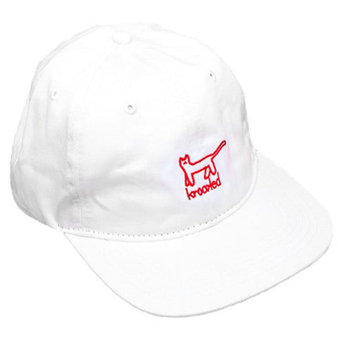 Krooked Kat Embroidery 6 Panel Strapback Hat (White)