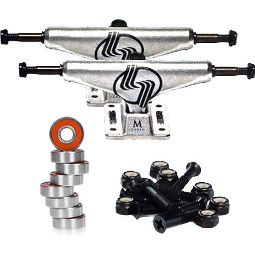 "Stix Skateboard Component Pack (Includes 8.25 Silver Assorted Trucks, FKD Bearings, and FKD 1"" Hardware. Excludes Grip, Wheels And Deck.)"