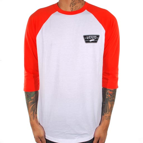 Vans Full Patch 3/4 Raglan Tee (White/Orange)