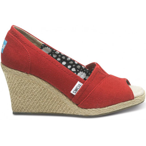 Toms Women's Wedges Shoes (Red Canvas)