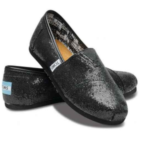 Toms Youth Classic Glitter Slip-On Shoes (Black)