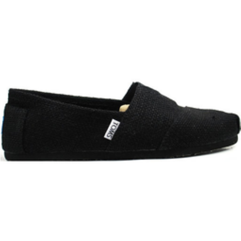Toms Men's Classic Burlap Slip-On Shoes (Black)