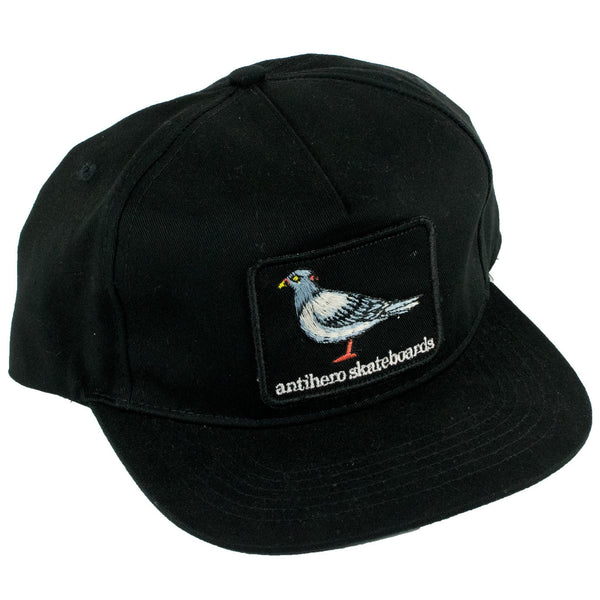 Anti Hero Eagle Pigeon Patch Snapback Hat (Black)