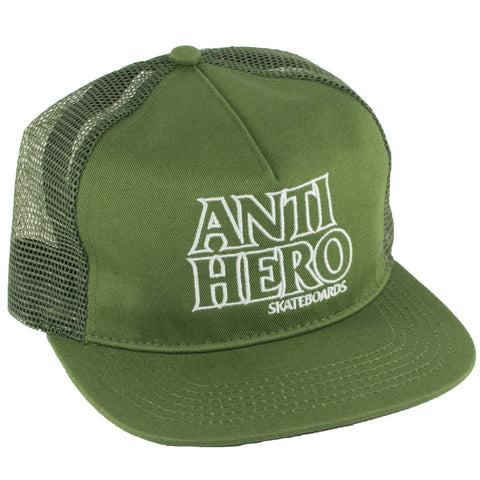 Anti Hero Outline Hero  Snapback Trucker Hat (Army/White)