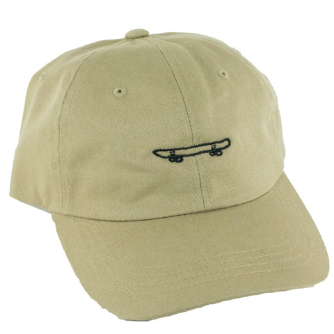 Skate All Day Skateboard Strapback Hat (Khaki)