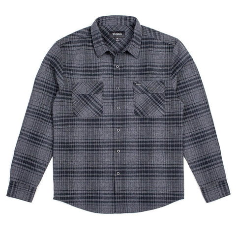 Brixton Bowery L/S Flannel (Black/Heather Charcoal)