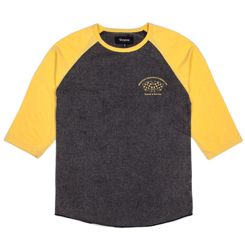 Brixton Burnout 3/4 Raglan Tee (Washed Black)