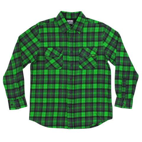 Creature Hannibal Plaid L/S Woven (Green/Grey/Black)