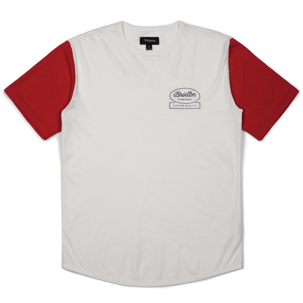 Brixton Dale Knit S/S Tee (Off White/Red)