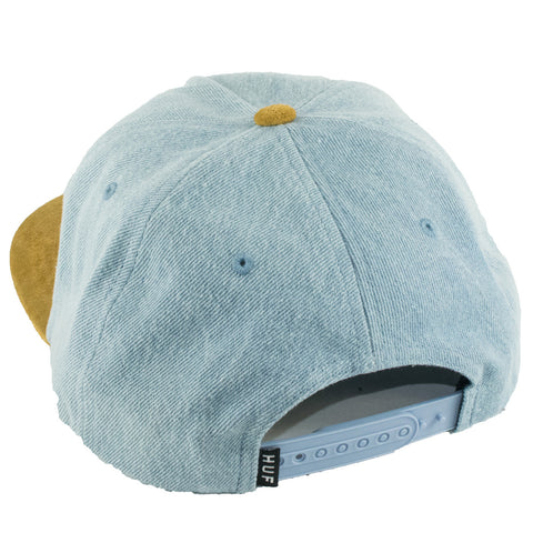 Huf Script Denim Snapback Hat (Blue Denim/Brown)
