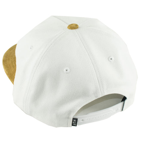 Huf Script Denim Snapback Hat (White Denim/Brown)
