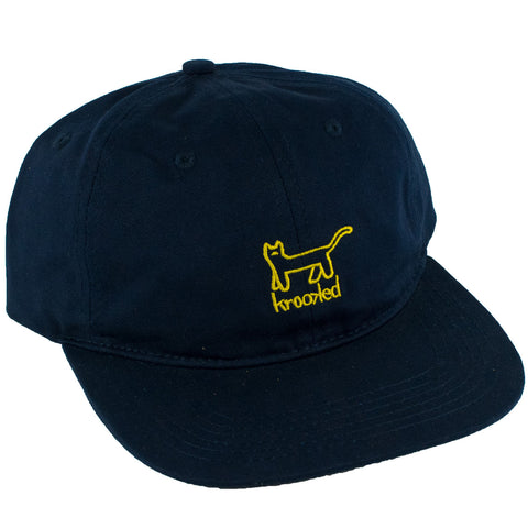 Krooked Kat Embroidered 6 Panel Strapback Hat (Navy)