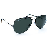 Ray Ban Aviator Tm Large Metal Sunglasses (58f/Black/Grey Polarized Lens)