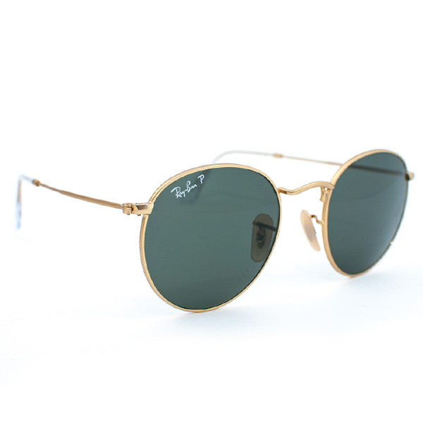 Ray Ban Round Metal Sunglasses (50f/Matte Gold/Grey Polarized Lens)