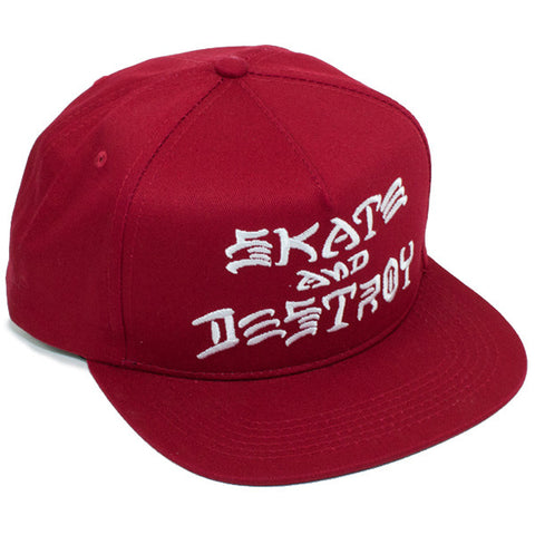 Thrasher Skate And Destroy Snapback Hat (Blood Red)