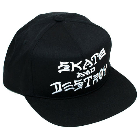Thrasher Skate And Destroy Snapback Hat (Black)