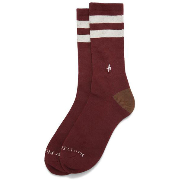 Altamont A Stripe Crew Socks (Oxblood)