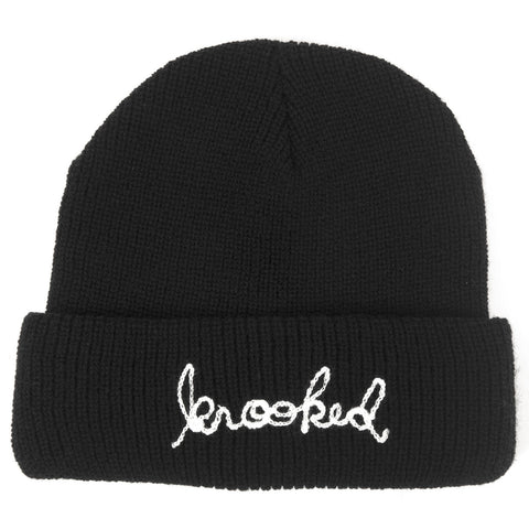 Krooked Signature Embroidery Cuff Beanie (Black)