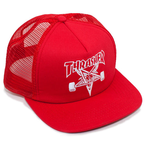 Thrasher Skate Goat Snapback Trucker Hat (Red)