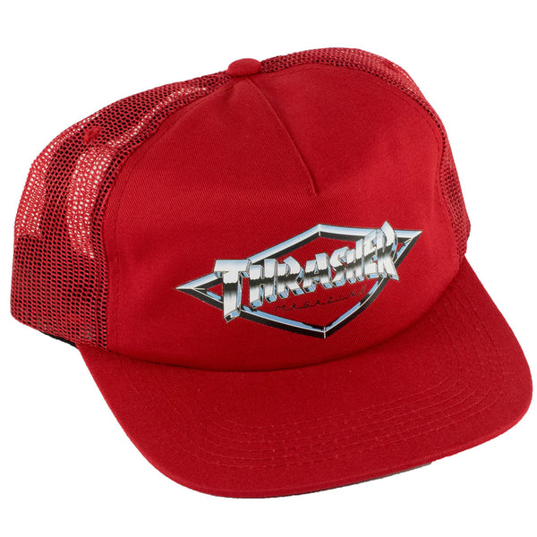 Thrasher Diamond Emblem Snapback Trucker Hat (Red)