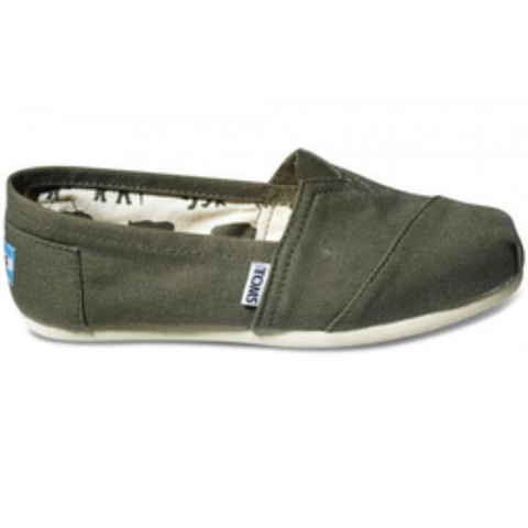 Toms Women's Classic Canvas Slip-On Shoes (Olive)