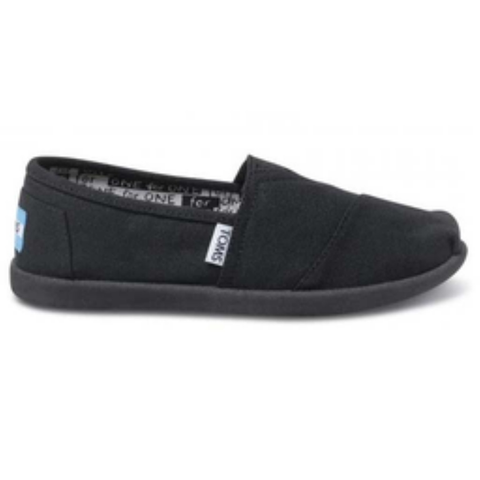 Toms Youth Classic Canvas Slip-On Shoes (Black)