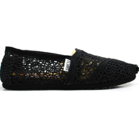 Toms Women's Classic Morocco Crochet Slip-On Shoes (Black)