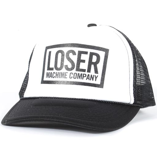 Loser Machine Box Snapback Trucker Hat (White/Black)